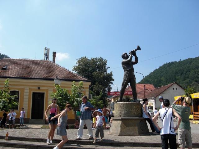 Trumpeter's statue in Guča, Serbia.